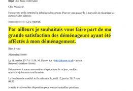 Lettre de satisfaction dun client de Ducret ayant reçu un devis gratuit pour un déménagement à Genève